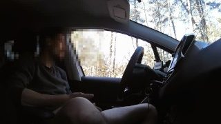 Caught masturbating in car by police. Then handjob by black cute girl.