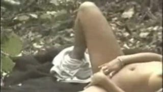 Chubby chick has solo fun in the woods!